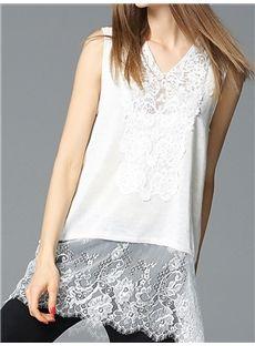 レディース夏白いTシャツコーデやすいカジュアルTシャツ着心地よいノースリーブレースTシャツ