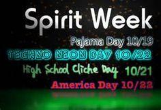 Spirit week in High School Spirit Week Themes, Spirit Day Ideas, Homecoming Spirit Week, Homecoming Ideas, School Spirit Days, Catholic Schools Week, Cheer Spirit, Pep Rally, Student Council