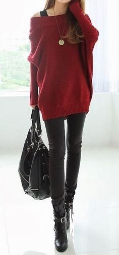 Black leather bag, jeans and boots could make this look a bit dark. Red sweater brings a contrast and make this look fashionable and attractive.