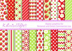 Digital Strawberry patterned papers in 8.5 by 11 and 12 by 12 for Personal and Small Commercial Use No 2