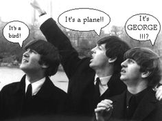 I can imagine George flying like Superman over the heads of the other three.
