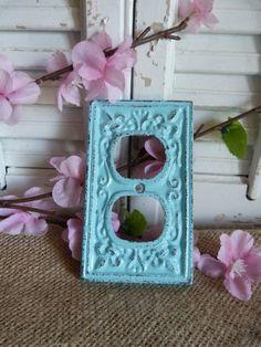 Aqua Blue Iron Wall Outlet Cover, Fleur De Lis Outlet Cover, French Apartment Decor, Wall Decor