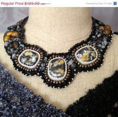 ON SALE Black  Grey Gold Beaded Collar Necklace by bjswearableart, $75.00