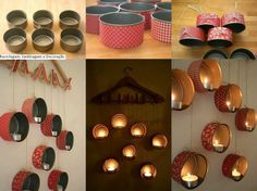 Reuse tuna cans and transform them into candle holders!