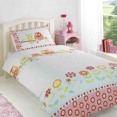 Owls Printed Duvet Set Single - This adorable bedding set consists of detailed owl creatures lining the top of the cover all sitting on a branch which your child is sure to love, these fun loving characters also feature on the pillow case. Double Duvet Covers, Single Duvet Cover, Bed Duvet Covers, Comforter Cover, Bed Linen Sets, Bed Sets, Duvet Sets, Owl Bedding, Kids Bedding Sets