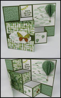 Tri Fold Cards, Fancy Fold Cards, Folded Cards, Birthday Cards For Boys, Handmade Birthday Cards, Homemade Greeting Cards, Homemade Cards, Side Step Card, Tarjetas Pop Up