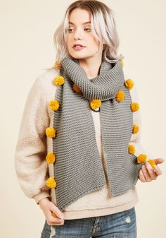 Pom Reading Scarf. Foretell of your fashionable future - and present - by parading this grey scarf! #grey #modcloth