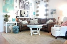 """Love the Nester's home, especially with new brown leather sofa. Has painted other furniture light colours  For information about her """"Laurel"""" sofa from Lay-Z-Boy, visit her blog at:  http://www.thenester.com/2012/09/its-here-the-leather-sofa.html  September, 2012."""