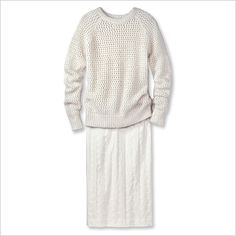 all white sweater and skirt...may have to give this a try - shae sweater and hugo boss skirt
