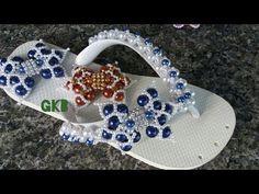 Como fazer laço e trama de pérolas NINA-Chinelo bordado- Gleicy Kelly Barbosa - YouTube