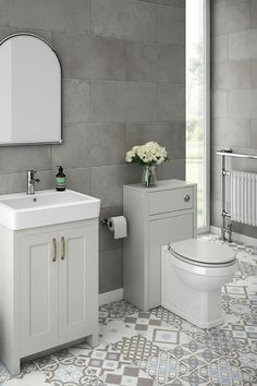 SHOP the Chatsworth Traditional White Sink Vanity Unit + Toilet Package at Victorian Plumbing UK Grey Vanity Unit, Sink Vanity Unit, Bathroom Vanity Units, Bathroom Furniture, Bathroom Interior, Small Bathroom, Light Grey Bathrooms, Sink Units, Gold Bathroom