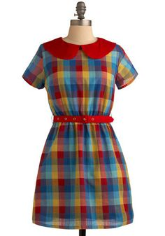 I want to wear this dress with a straw boater and black t-bar mary-janes while eating a waffle sundae in the park.