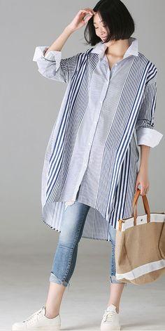 Fashion Loose Striped Cotton Long Shirt For Women - moda Mode Outfits, Chic Outfits, Hijab Fashion, Fashion Outfits, Womens Fashion, Dress Fashion, Latest Fashion, Fashion Tips, Fashion Trends