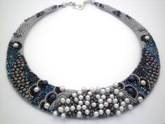 Marissa: Freshwater pearl bead embroidered collar, OOAK elegant statement pearl beaded necklace