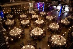 Market Lights Over Reception At Mile High Station Brinton Studios Loft Wedding Outside