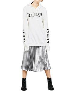 909f438fdbdc5 SCX Women Letter Print Long Sleeve Splice Design Casual Fashion Hoodie Top