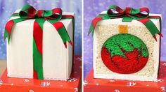 A present-shaped cake that reveals a festive red and green Christmas ornament inside.