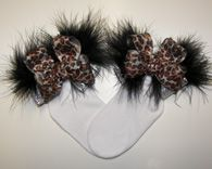 Leopard Metallic Marabou Bow Socks