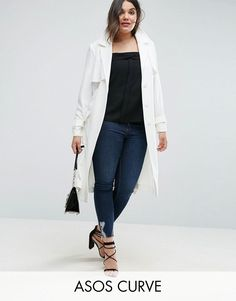 ASOS CURVE Trench in Structured Crepe with Oversized Pockets - White