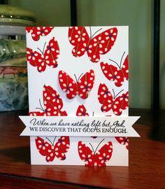 Red butterflies card
