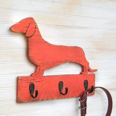 Dachshund Collar and Leash Holder Dog Leash Hook. $42.00, via Etsy.