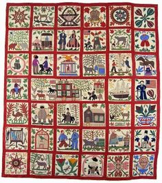 Lucinda Ward Honstain (1820-1904) from Brooklyn made this appliquéd quilt, known as the Reconciliation Quilt, in 1867. It is one of the highest valued quilts in existence fetching $264,000, at Sotheby's in 1991. It depicts personal events in her life before, during, and just after the Civil War. The centre panel, which is a triple-wide block, shows her home in Williamsburg. This historically significant quilt will be on view at the New-York Historical Society, as part of the…