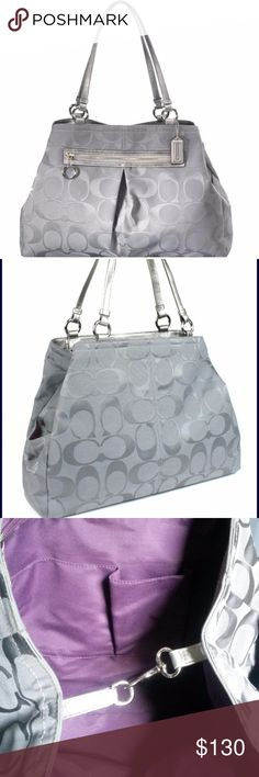 "Auth. COACH GABBY LARGE SIGNATURE TOTE Color: Gray Front exterior zippered slip pocket, two exterior side pouch pockets and top middle dog leash clasp closure   Extra roomy lavender color lined interior features a large backwall zippered privacy pocket on each side, and two multi- function pouch pockets  Double leather carry handles, strap drop is 10.5"" Size: 17"" (W) x 12.5"" (H) x 5"" (D) This tote makes a perfect work bag, travel bag, or baby bag  Some light stains on the bottom of the bag…"