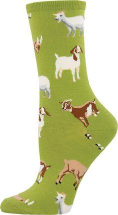 The cutest goats on fern green crew socks for women!