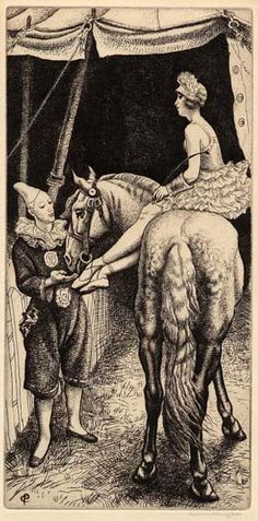 "Dame Laura Knight : Barebackrider. etching only 10""x 5"""
