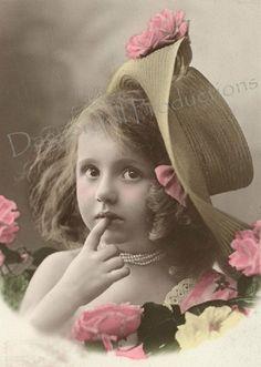 Antique Post Card Instant Download Little by EphemeralDownloads, $3.25