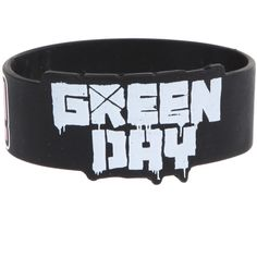Green Day ¡Uno! ¡Dos! ¡Tre! Die-Cut Rubber Bracelet   Hot Topic ($7) ❤ liked on Polyvore featuring jewelry, bracelets, accessories, rubber bracelets, green day, green jewelry, rubber jewelry, rubber bangles and green bangles