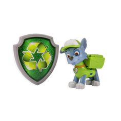 Nickelodeon, Paw Patrol - Action Pack Pup & Badge - Rocky. Action Pack Pup Rocky makes an incredible transformation as his Pup Pack transforms into a garbage grabbing claw and a screwdriver!. Now you can become a heroic member of the Paw Patrol when you wear the official Rocky Recycling Badge that's included!. Collect each loveable Action Pack Pup and work together as a team! Chase, Rubble, Skye, Zuma, Marshall and Rubble all have a unique transformation. Paw Patrol Action Pack Pups come…