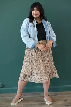 Modest Clothing, Cream and Rust Floral Skirt, Modest Clothes Modest Skirts, Modest Outfits, Modest Clothing, Pleated Midi Skirt, Lace Skirt, Skirt Fashion, Rust, Floral, Green Cream