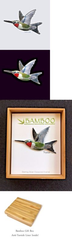 Brooches Pins 152807: Ruby Throated Hummingbird Cloisonne Pin By Bamboo Jewelry Sterling - Gift Boxed -> BUY IT NOW ONLY: $39.59 on eBay!