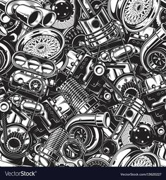 Automobile car parts seamless pattern with monochrome black and white elements background - compre este vetor na Shutterstock e encontre outras imagens. Car Tattoos, Car Repair Service, Service Car, Car Drawings, Car Wrap, Jdm Cars, Car Parts, Cars And Motorcycles, Vector Art