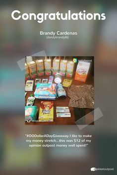 Congratulations to our 3rd Opinion Outpost Dollar-a-Day Giveaway winner on Instagram, Brandy Cardenas (@dandybrandy86)! Check out the items she spent $12 of her Opinion Outpost rewards on. Well spent indeed! We'll be posting this week's last giveaway soon.