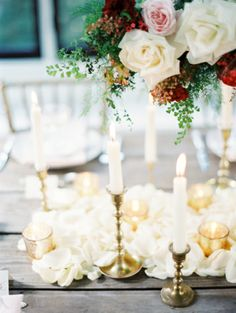 Gold Candlesticks on Wood Table | photography by http://erichmcvey.com