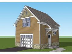 Craftsmanl Garage Plan with 448 Square Feet and 1 Bedroom from Dream Home Source | House Plan Code DHSW075841