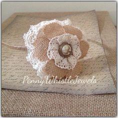 Burlap & Lace Satin Wrapped Headband, Flower Headband, Bridal Headband, Shabby Chic Headband