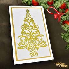 Items similar to Reflective embossed christmas tree card, foiled reflective gold christmas tree card, embossed christmas card on Etsy Unusual Christmas Trees, Gold Christmas Tree, Christmas Tree Cards, Christmas Cards, Mirror Border, Greeting Cards, Presents, Paper, Etsy