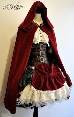 Little red riding hood steampunk dress by My Oppa