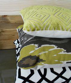 Ikat decorative pillow, chartreuse green, brown and grey, throw pillows