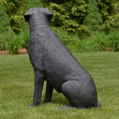 Sitting Black Labrador Dog from our Heimex Portraits of Animals.  This Life Size Labrador Dog is constructed of fiberglass and painted by hand, this Dog statue is light enough to move yet strong enough for outdoor use. Item # 39108 Price: $199.00