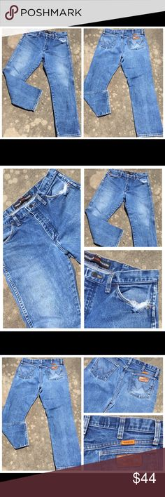 "WRANGLER FR ""Dirty"" Distressed Denim Jeans 33 x 30 WRANGLER FR ""Dirty"" Distressed Denim Jeans 33 x 30 Wrangler Jeans Bootcut"