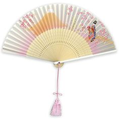 Hand Painted Japanese Fan - The folding fan was invented in Japan around the 6th to 8th century. Japanese fans are made of paper on a bamboo frame, usually with a design painted on them. In China, the folding fan, introduced from Japan, came into fashion during the Ming dynasty between the years of 1368 and 1644.