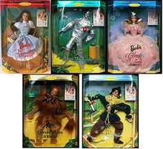 """Hollywood Legends Collection Set of 5 """"Wizard of Oz"""" Collectible Barbie Doll Set: Dorothy, Lion, Tin Man, Scarecrow and Glinda -- See this great product. (This is an affiliate link) Barbie 1990, Barbie Doll Set, Barbie And Ken, Wizard Of Oz Collectibles, Wizard Of Oz Dolls, Glinda The Good Witch, Broadway, Tin Man, Barbie Collector"""
