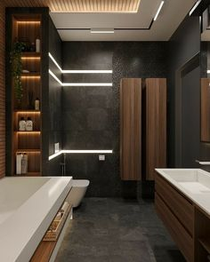 ♂ Contemporary bathroom with dark brown wood with black wall ♂ Modernes Badezimmer aus dunkelbraunem Holz mit schwarzer Wand Luxury Toilet, Wood Slat Wall, Wood Paneling, Wood Slat Ceiling, Wood Walls, Wood Floor, Ceiling Fan, Wood Bathroom, Bathroom Ideas