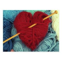 Cute red wool heart with knitting needle postcard - vintage heart gifts love hearts custom