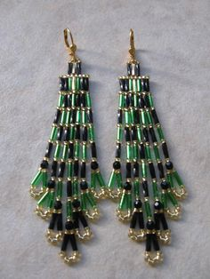Seed Bead Earrings  Bargain Basement  Green/Black<--four of these draped around an ornament with swags of beads between for christmas ornament