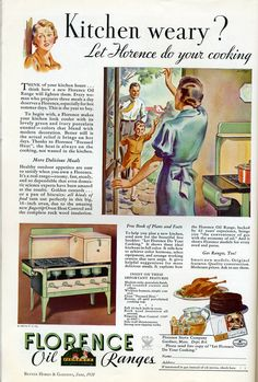 1934 Florence Oil Ranges Stove Ad - Farmhouse Kitchen Decor - Nostalgic Gift for a Cook. Vintage print ad from the Retro Reveries shop on Etsy.